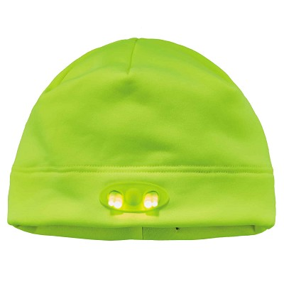 Ergodyne 6804  Lime Skull Cap Beanie Hat with LED Lights
