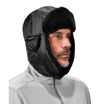 Ergodyne 6802ZI L/XL Kit Black Zipper Trapper Hat w/ Universal Bump Cap