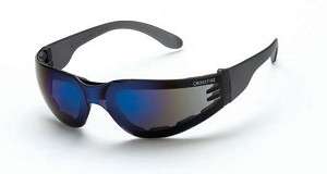 Crossfire Shield blue mirror lens and crystal black frame, foam lined