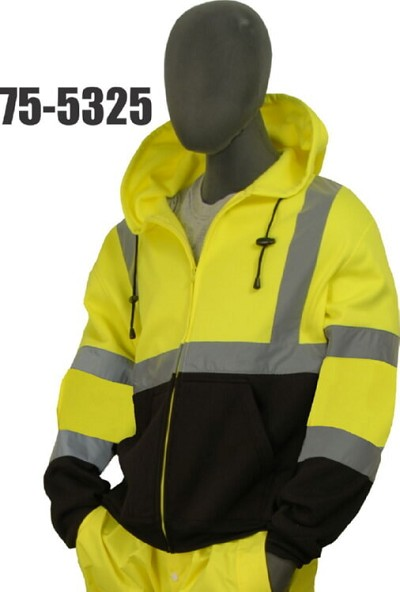 Majestic 75-5325 Class 3 High Visibility Yellow Sweatshirt, Hooded, Zipper w/Black Size L