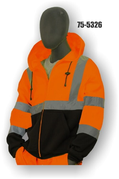 Majestic 75-5326 Class 3 High Visibility Orange Sweatshirt, Hooded, Zipper, w/ Black Size 5X
