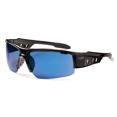 Ergodyne Skullerz DAGR Safety Glasses - Black Frame - Blue Mirror Lens
