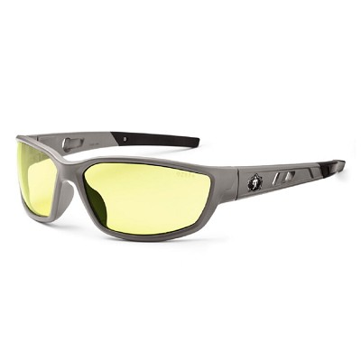 Ergodyne Skullerz KVASIR Safety Glasses - Matte Gray Frame - Yellow Lens