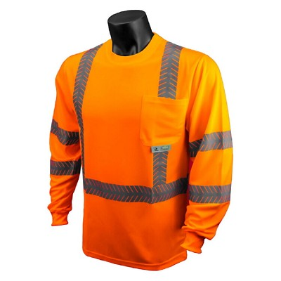 Radians ST24-3POS Class 3 Orange Hi-Viz Long Sleeve T-Shirt UV & Moisture Wicking Mesh