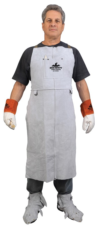 MCR River City 38142MW Memphis Welding Leather 24x42 Bib Apron Gray