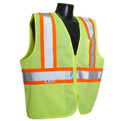 Radians SV22-2ZGM Economy Type R Class 2 Safety Vest with Two-Tone Trim-Lime/Green