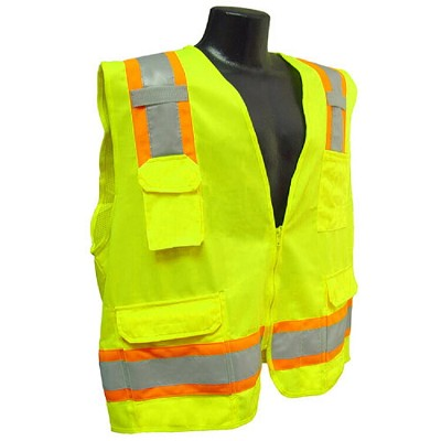 Radians SV6G Two Tone Surveyor Type R Class 2 Solid/Mesh Safety Vest-Lime/Green