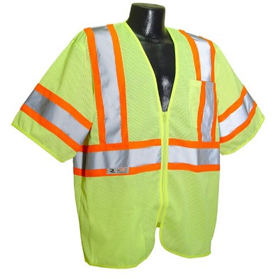 Radians SV22-3ZGM Economy Type R Class 3 Safety Vest with Two-Tone Trim-Lime/Green