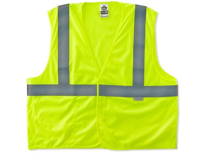 Ergodyne 8255HL Class 2 Treated Poly Vest - Hi Viz Lime