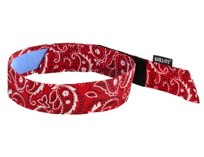 Ergodyne Chill-Its 6705CT Cooling Hook Bandana w/ Towel-Red/Western