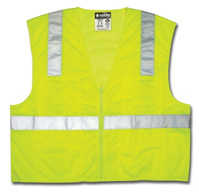 MCR Safety CL2LC Class 2, Mesh Back/Solid Front, Zipper Front Lime Safety Vests