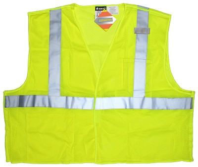 MCR Safety CL2MLPFR Class 2,  Poly Vest, Limited Flammability Lime