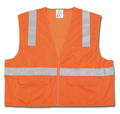 MCR Safety CL2OC Class 2, Mesh Back/Solid Front, Zipper Front Orange Safety Vests