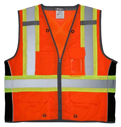 MCR Safety SURVCS2O CSA, Surveyor, Silver/  Orange Safety Vests