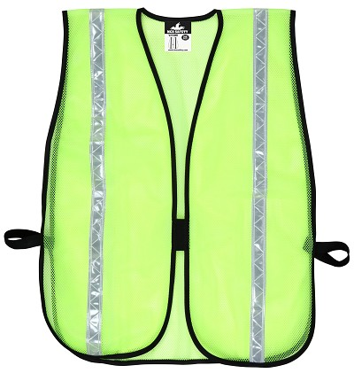 MCR River City V210WR Poly, Mesh  Vest, 3/4 White Stripe Lime