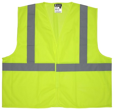 MCR Safety V2CL2ML V2  Green, CL 2, Economy Vest, Mesh Lime