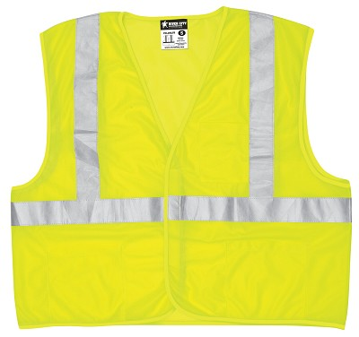 MCR Safety VCL2MLFR Class 2, Economy Vest, Mesh, Limited Flammability Lime