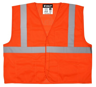 MCR Safety VCL2MOFR Class 2, Economy Vest, Mesh, Limited Flammability  Orange