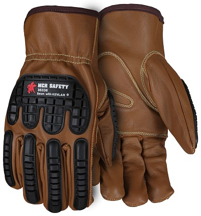 MCR Safety 36336 Goatskin Leather with Padded Palm Impact Reduction glove
