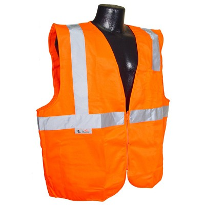 Radians SV2ZOS Economy Type R Class 2 Solid Safety Vest with Zipper-Orange